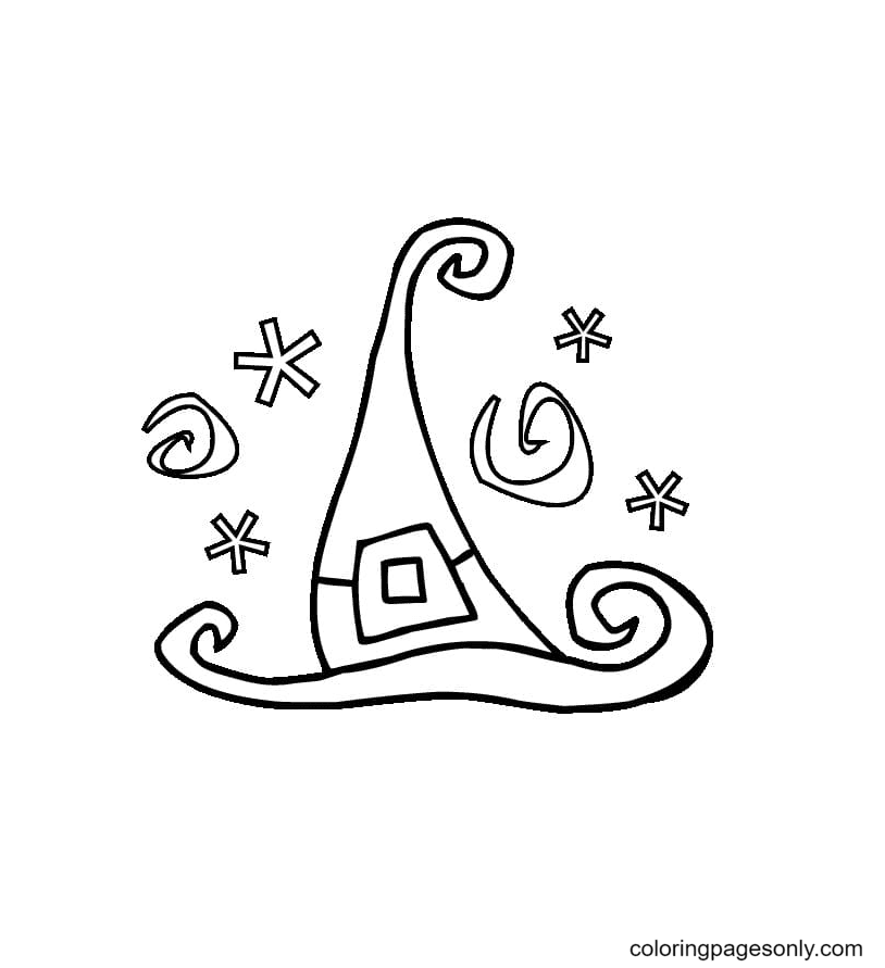 Unique Hat of the Witch Coloring Page