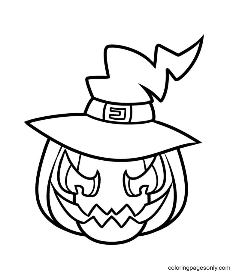 Unique Pointed Witch Hat Coloring Page