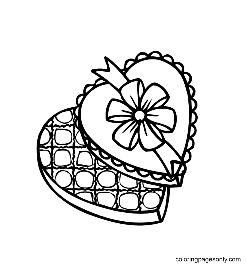 Valentine's Candy Coloring Page