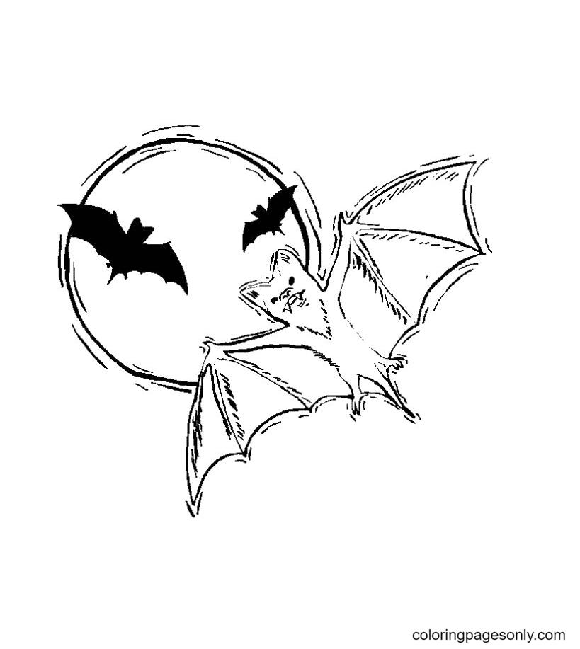 Vampire Bat Halloween Coloring Page
