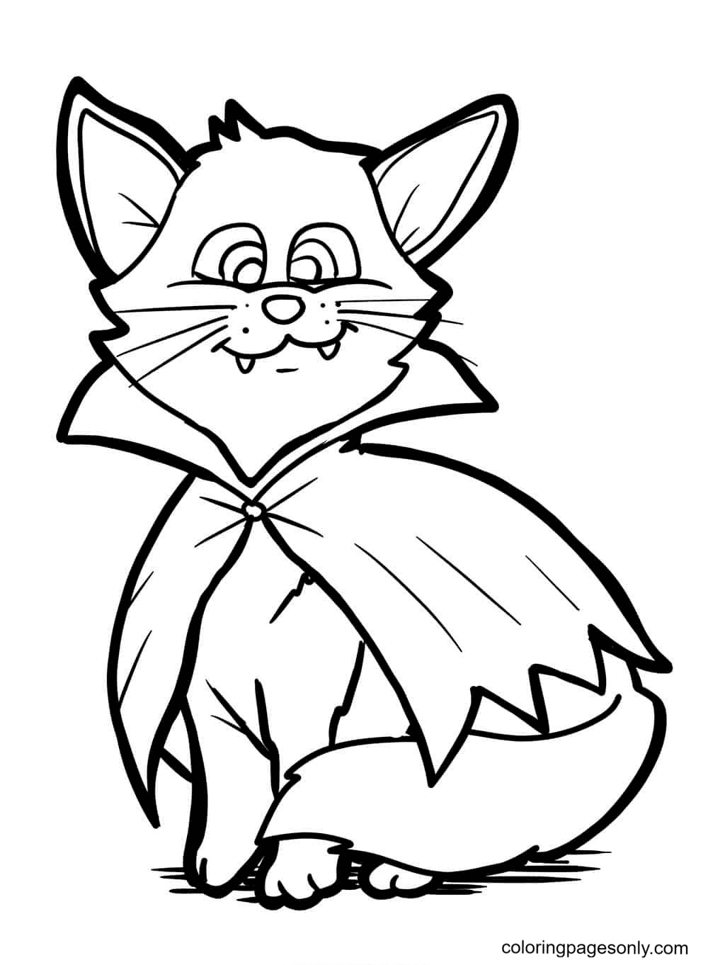 Vampire Cat Coloring Page