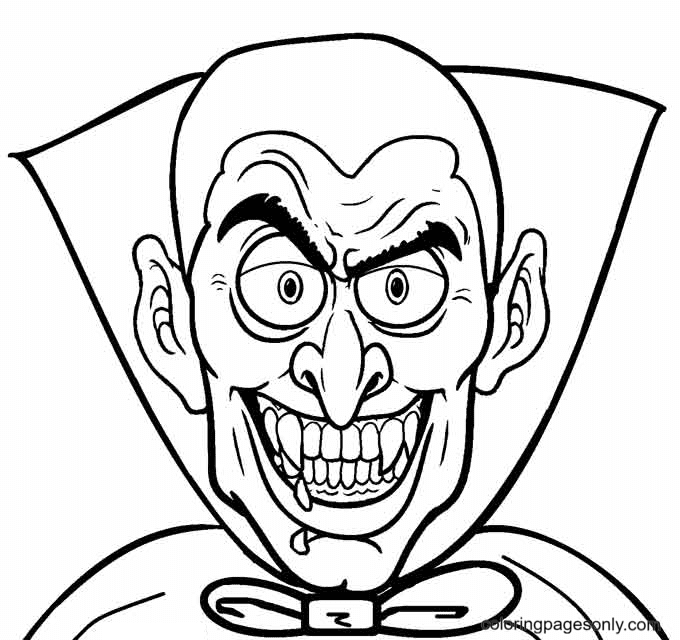 Vampire Face Coloring Page