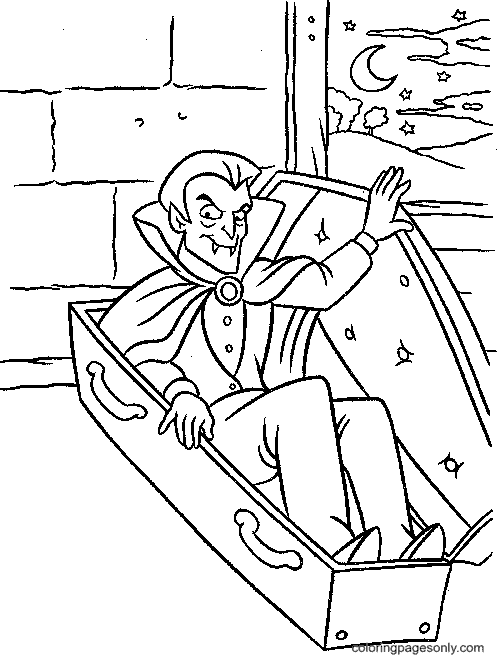 Vampire In A Coffin Coloring Page