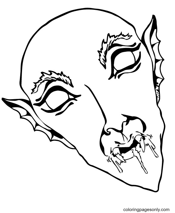 Vampire Mask Coloring Page