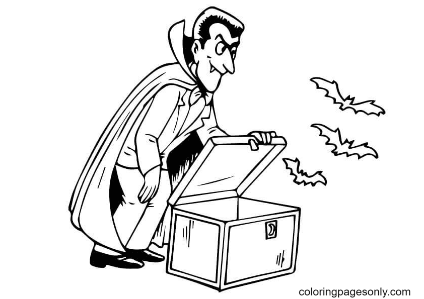 Vampire Open the Box Coloring Page