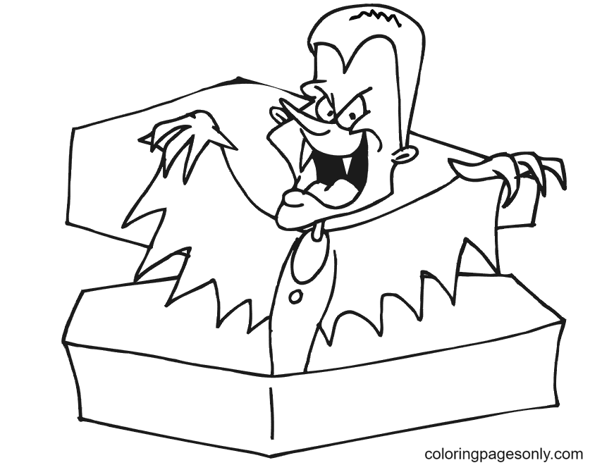 Vampire Rising from Coffin Coloring Page