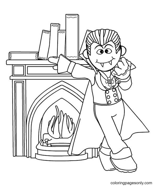 Vampire Standing in Front of Fireplace Coloring Page