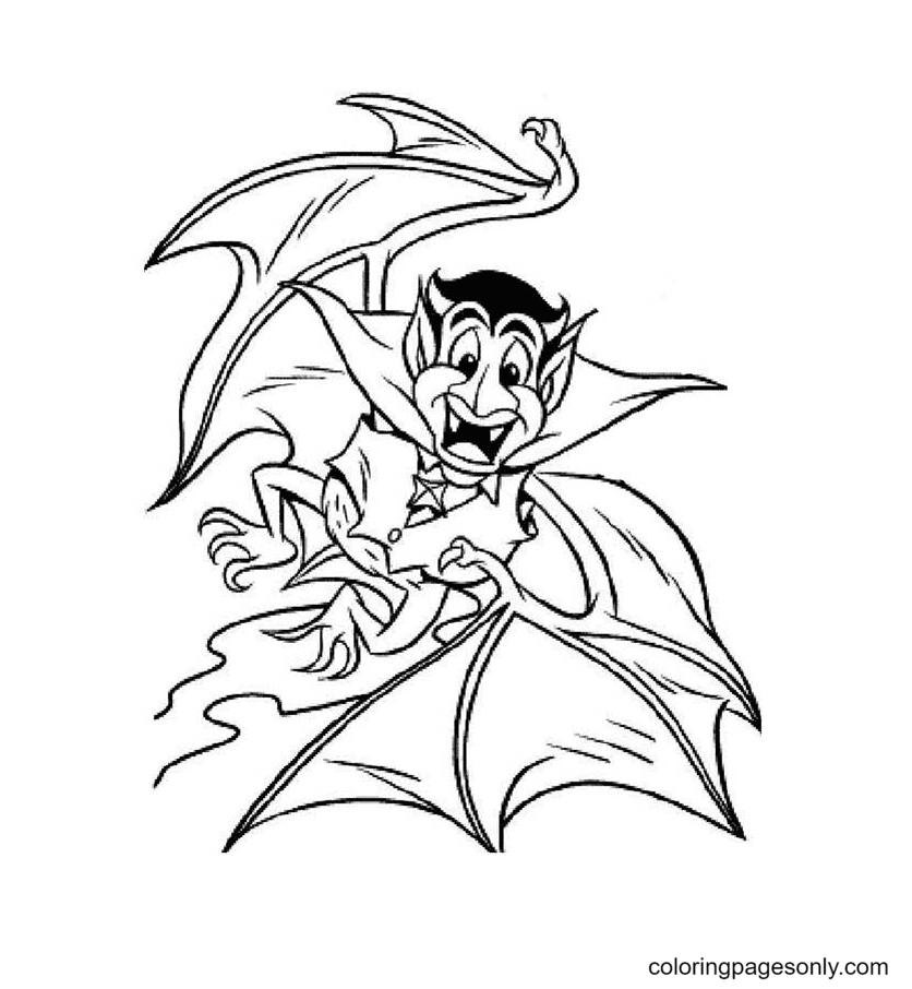 Vampire Transform Into Bat Coloring Page