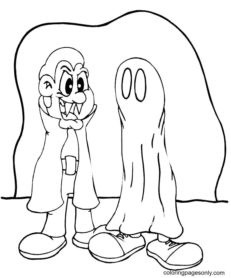 Vampire and Ghost Coloring Page