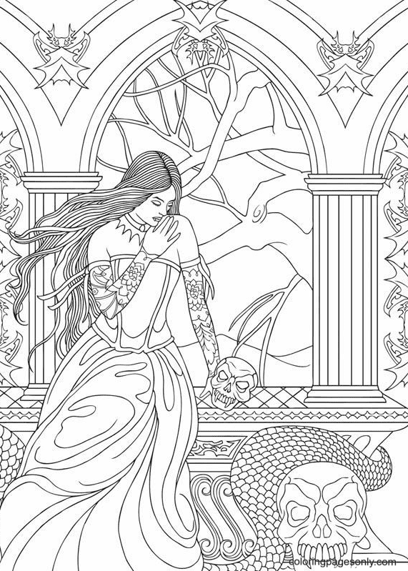 Vampire for Adults Printable Coloring Page