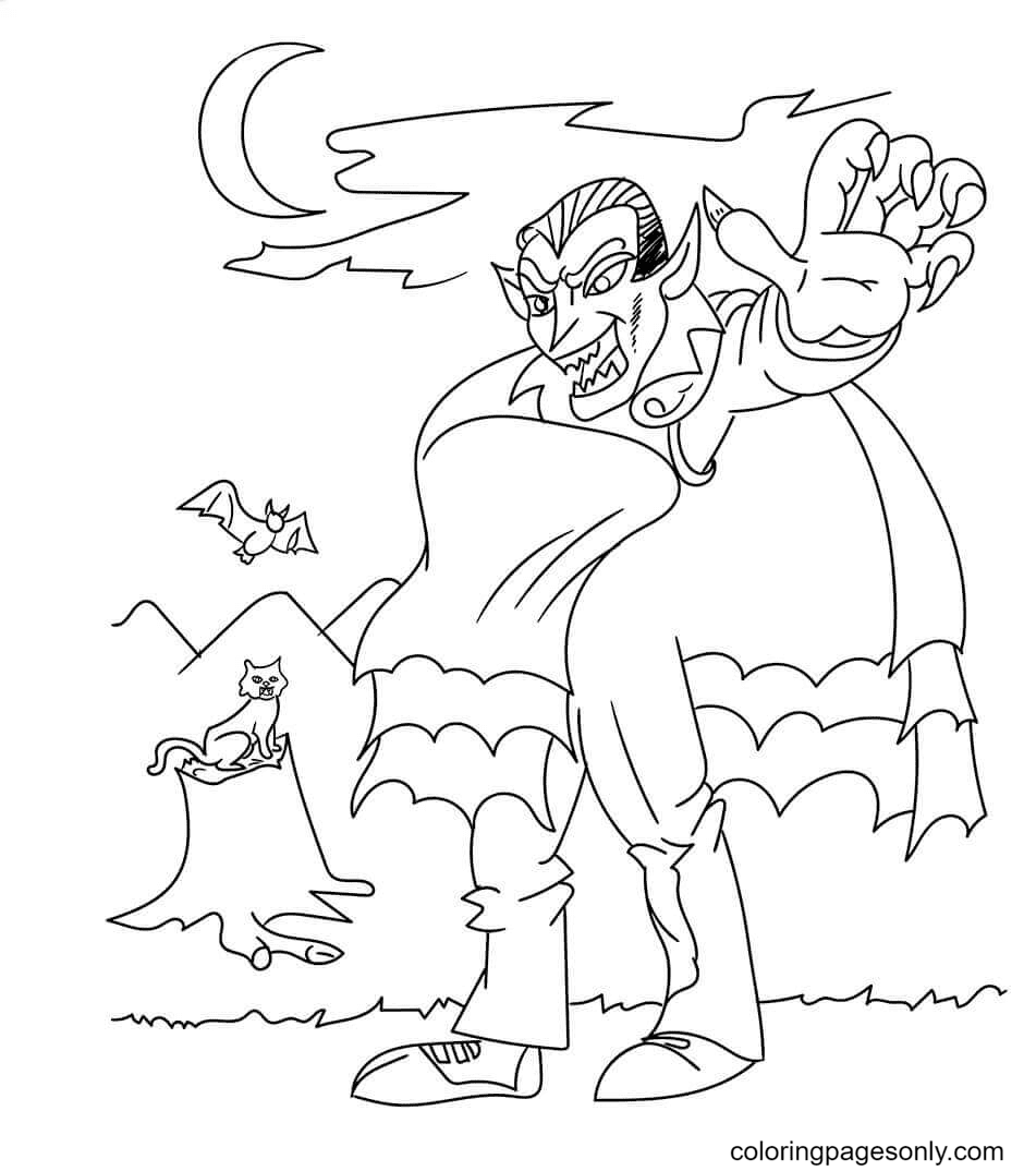 Vampire with Bat and Cat Coloring Page