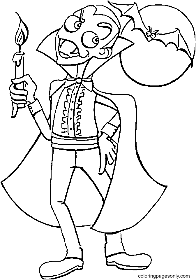 Vampire with Bat and Moon Coloring Page