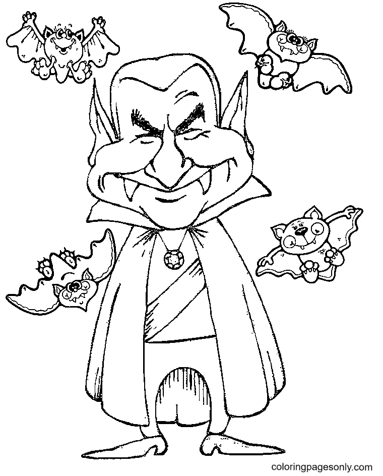 Vampire with Bats Coloring Page