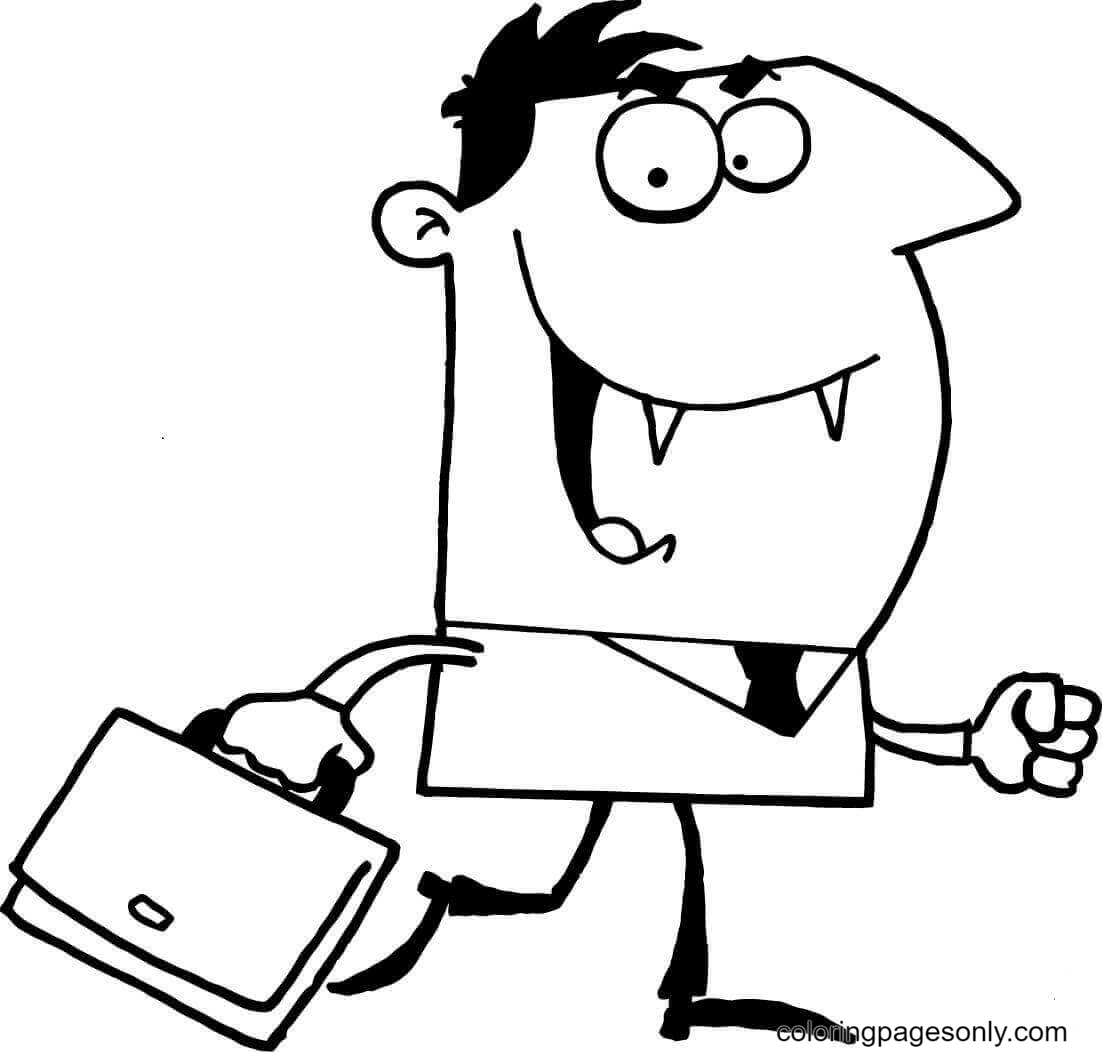 Vampire with Briefcase Coloring Page