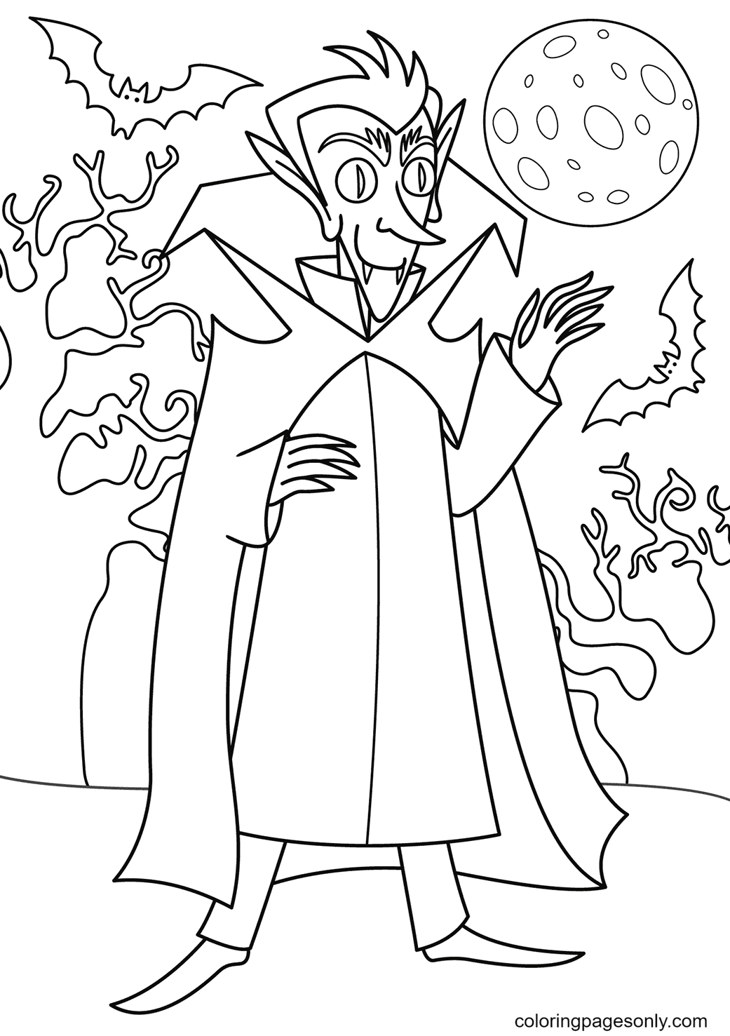 Vampire with Moon and Bat Coloring Page