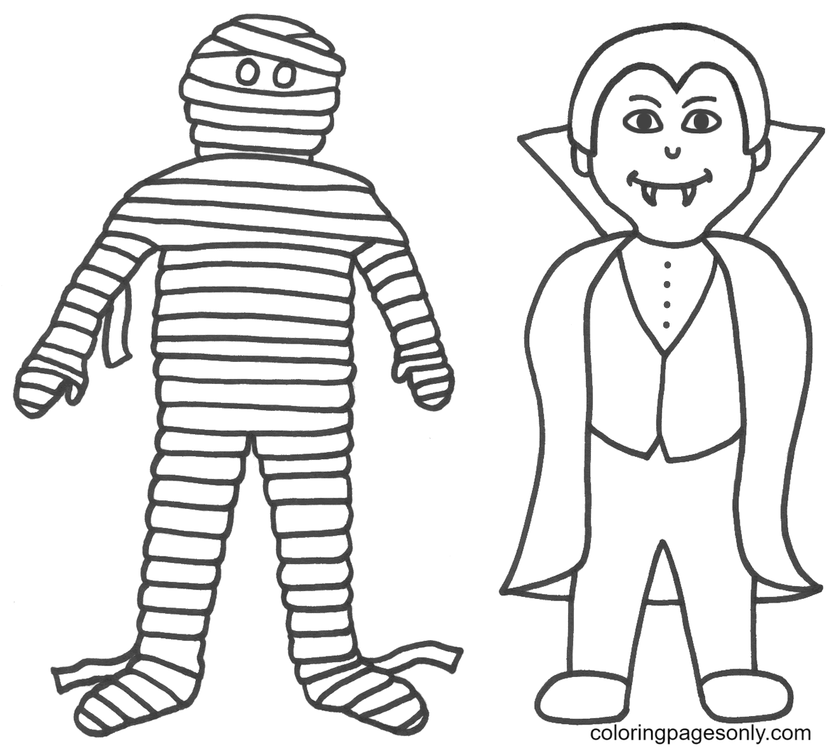 Vampire with Mummy Coloring Page