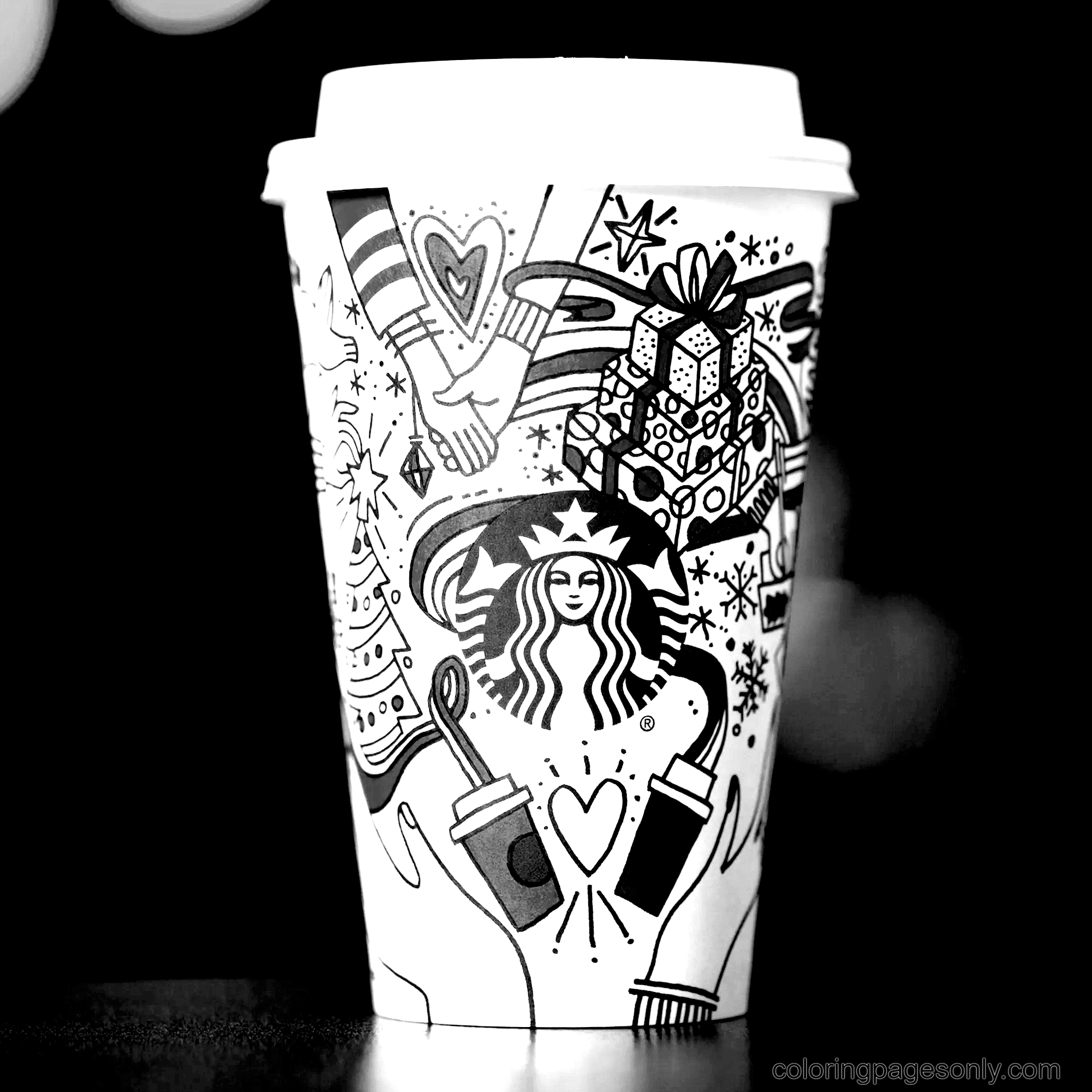 Viral Starbucks Coffee Cup Coloring Page