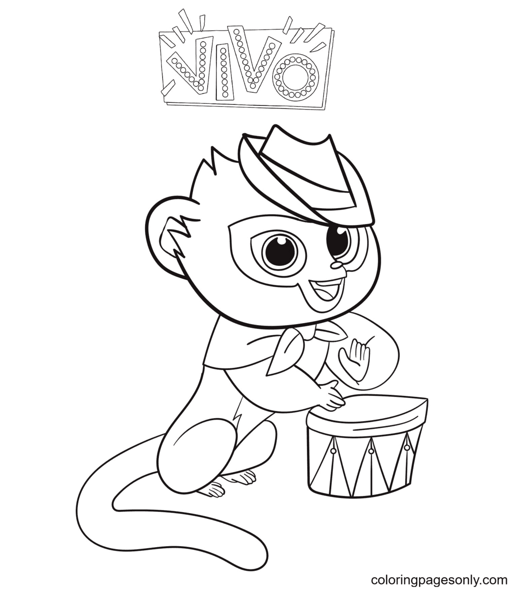 Vivo Playing Drums Coloring Page