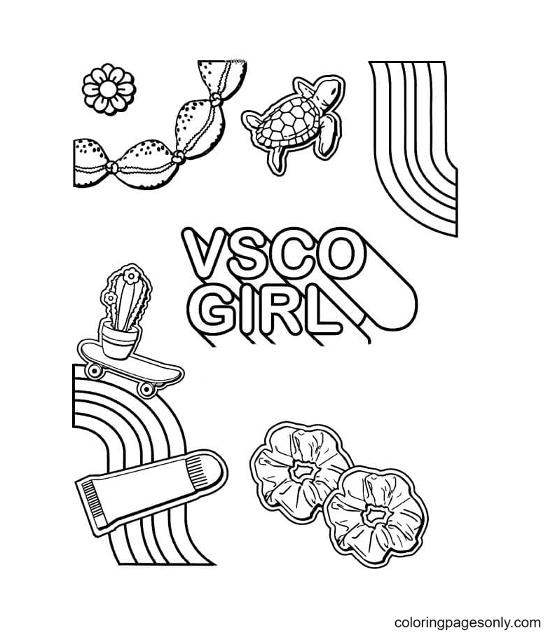 Vsco Girl Aestheics Coloring Page