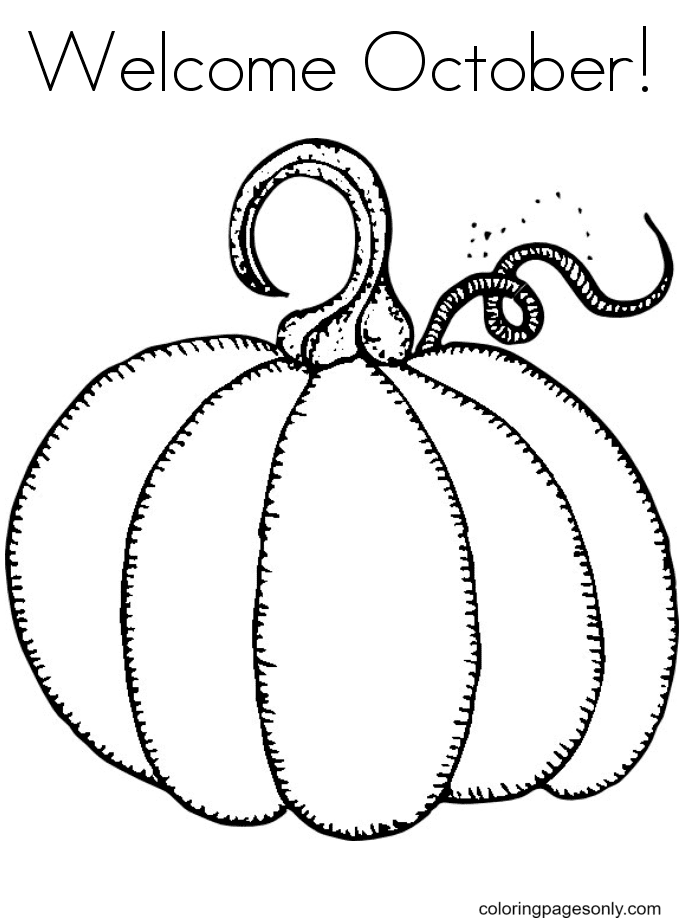 Welcome October Coloring Page