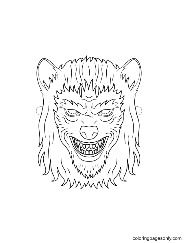 Werewolf Mask Coloring Page