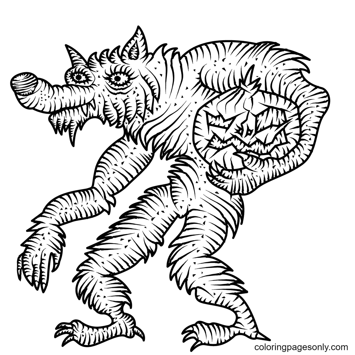 Werewolf with Jack-o'-Lantern Coloring Page