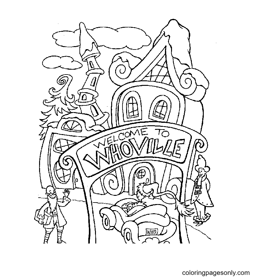 Whoville Christmas Coloring Page