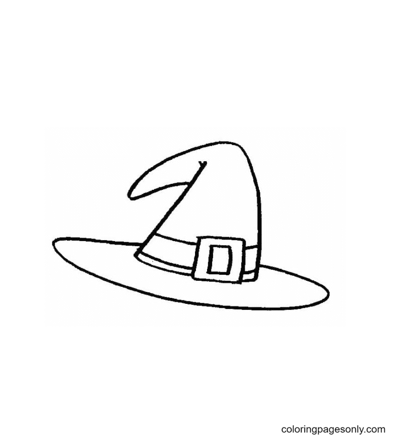 Wide-Brimmed Witch Hat Coloring Page