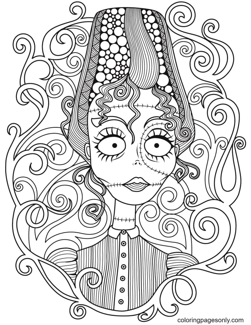 Witch Halloween Mandala Coloring Page
