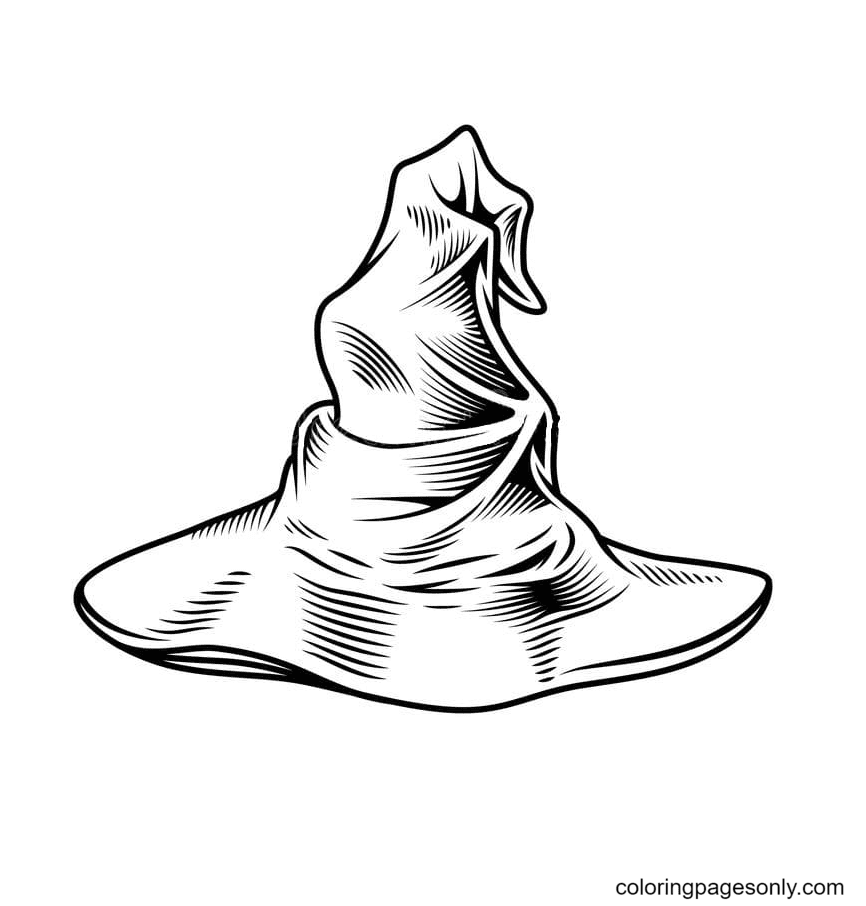 Witch Hat Free Printable Coloring Page