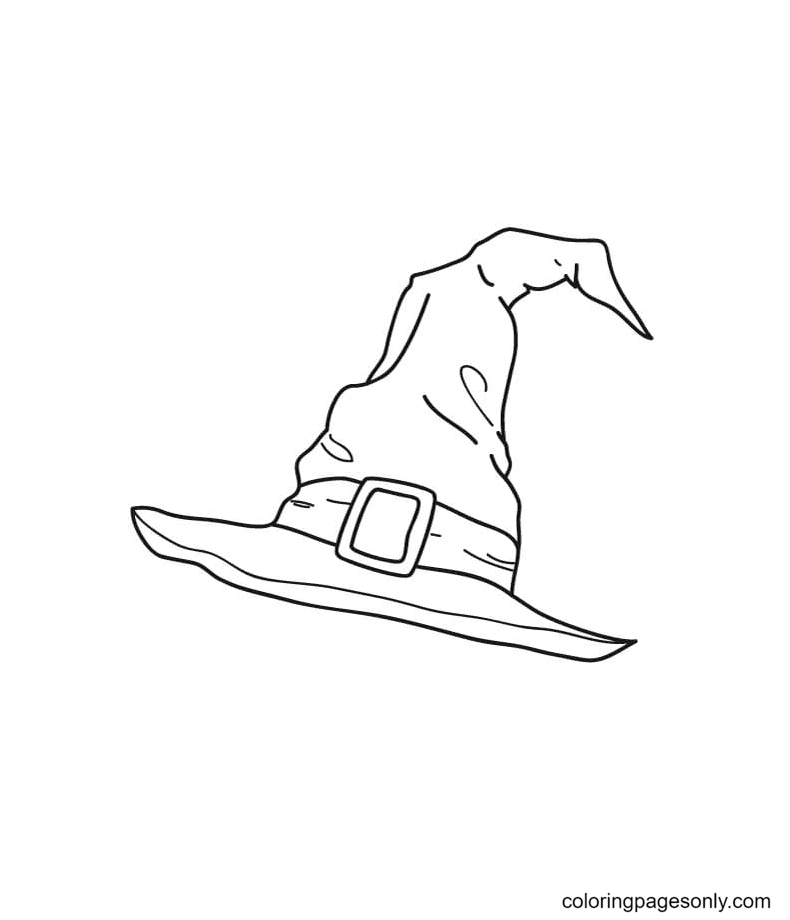 Witch Hat Free Coloring Page