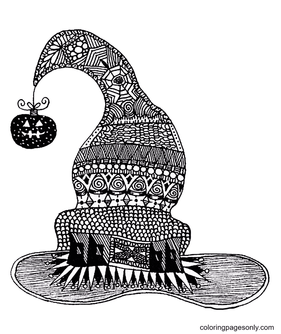 Witch Hat With Anti-Stress Patterns Coloring Page