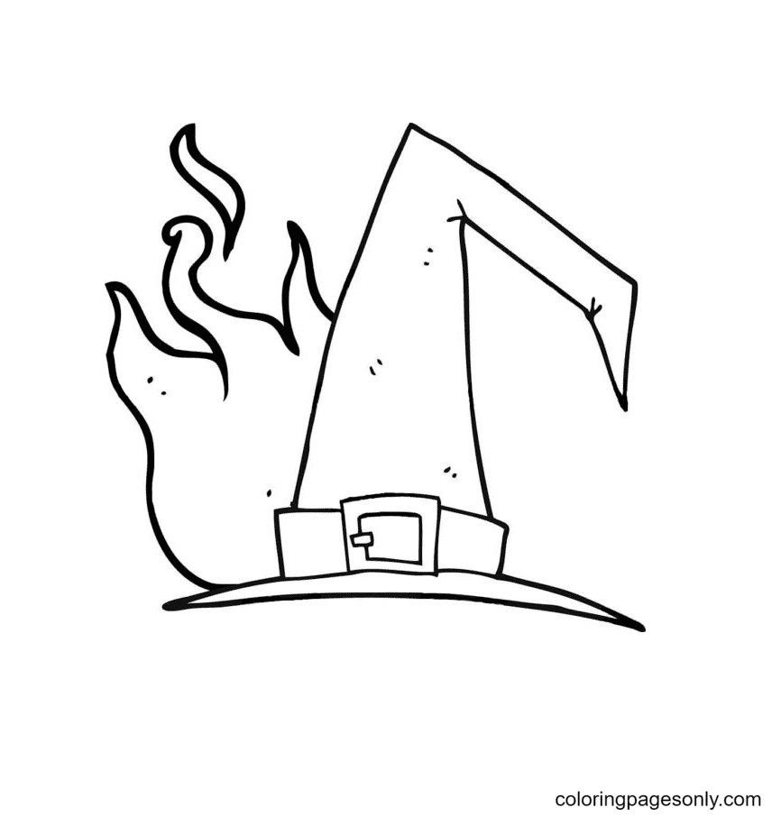 Witch Hat With Flames Behind Coloring Page