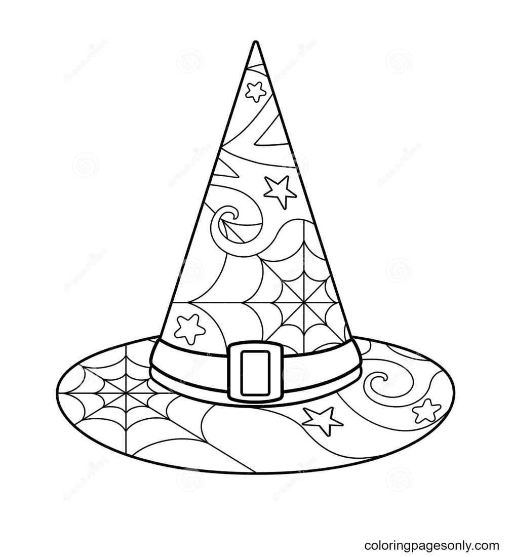 Witch Hat With Spider Web Coloring Page