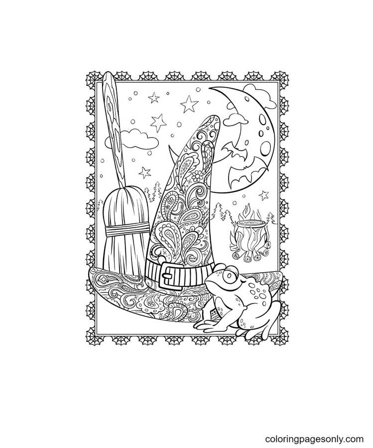 Witch Hat With Unique Motifs Coloring Page