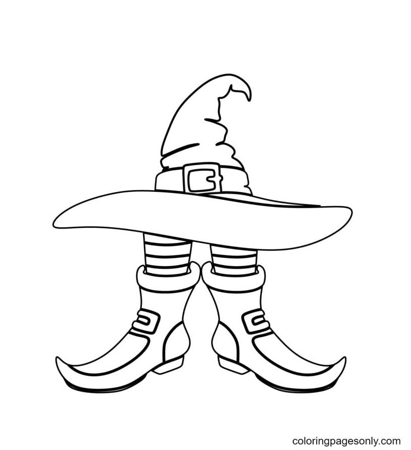 Witch Hat and Boot Coloring Page