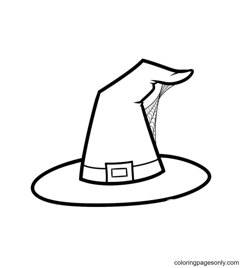 Witch Hat and Spider Web Coloring Page
