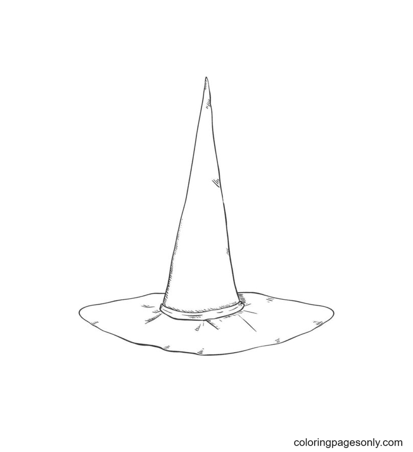 Witch Hat looks like a Horn Coloring Page
