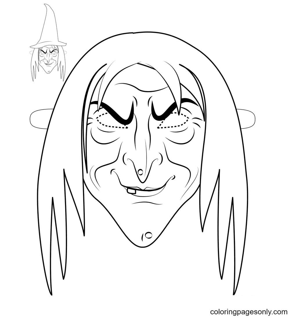 Witch Mask Halloween Coloring Page