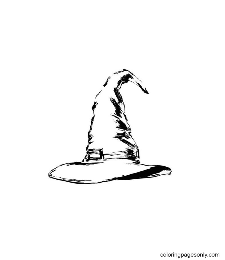 Witch Pointed Hat is Usually Worn On The Head Coloring Page