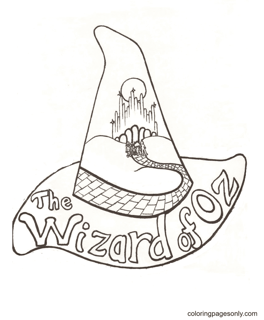Wizard Of Oz Witch Hat Coloring Page