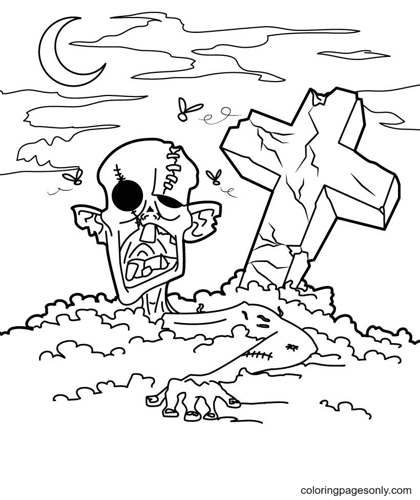 Zombie Halloween Coloring Page