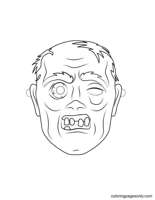 Zombie Mask Coloring Page