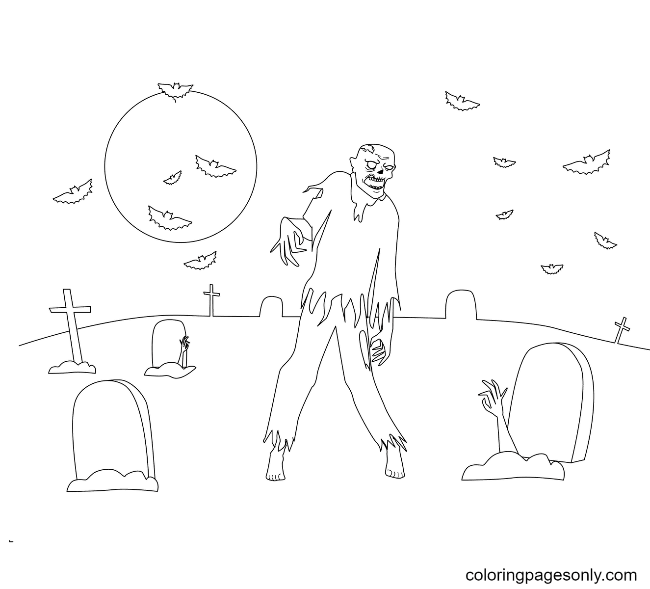 Zombies in Halloween Coloring Page