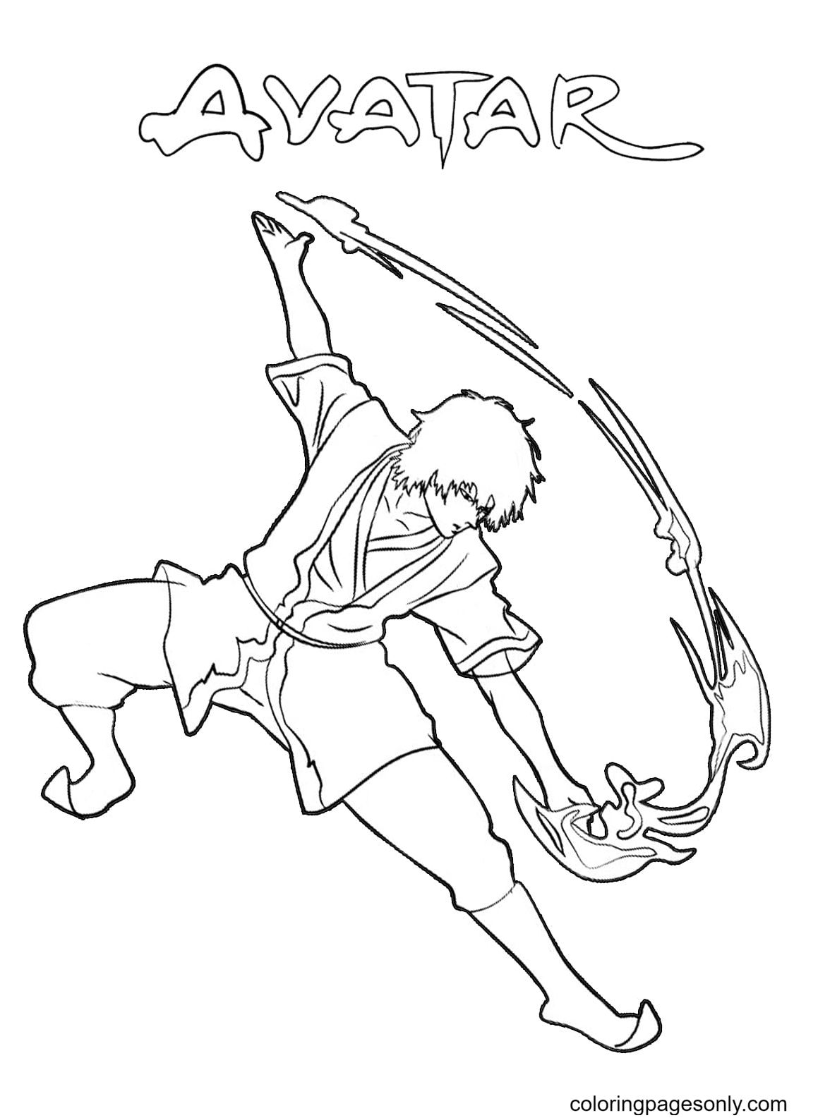 Zuko with Fire Coloring Page