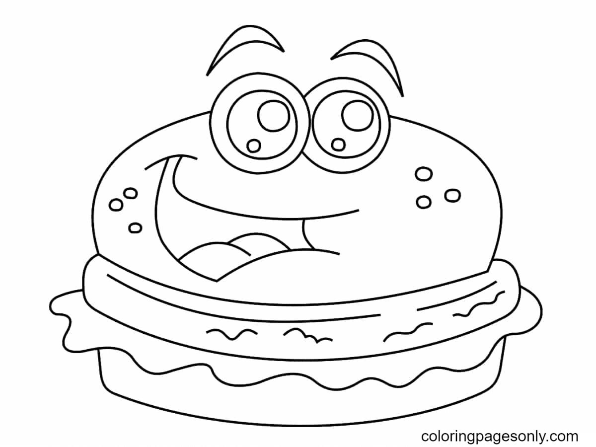 Burger Kawaii Coloring Page