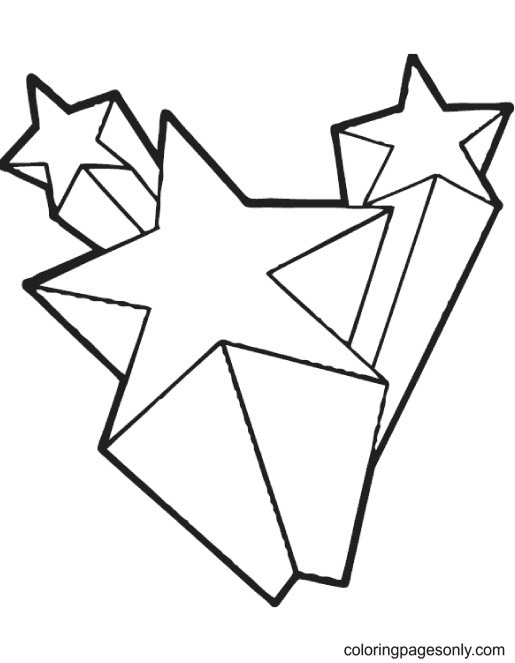 3D Shooting Stars Coloring Page