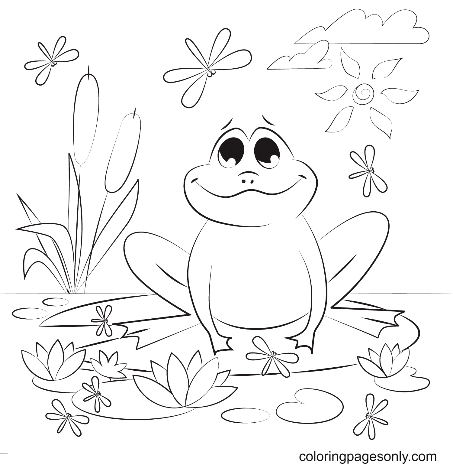 A Beautiful Day for a Baby Frog Coloring Page