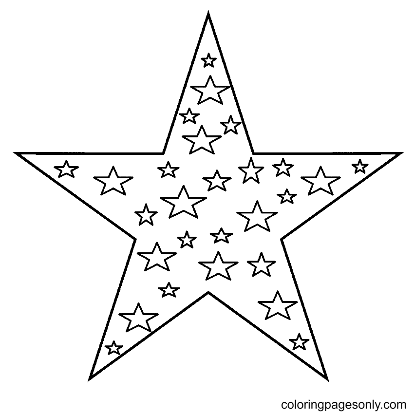A Big Star and Small Stars Inside Coloring Page