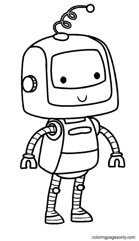 A Child Robot Coloring Page